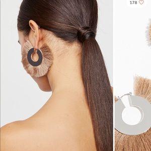 free people fan fringe hoop earrings